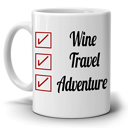 Retirement Gifts Checklist Mug Coffee Travel Adventure Retired Mug for Retirees, Printed on Both - Near Co Store Tiffany And Me
