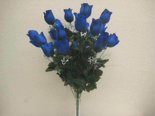 "DARK BLUE Rose Buds Bush Artificial Silk Flowers 25"" Bouq..."