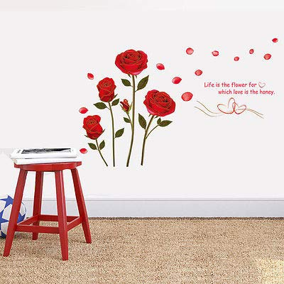 Amazon.com: Red Rose Life Is The Flower Quote Wall Sticker Mural Decal Home Room Art Decor Diy Romantic - Pegatinas De Pared: Kitchen & Dining