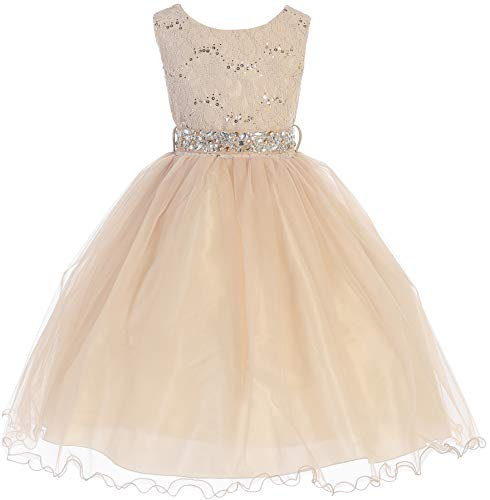 Big Girl Glitters Sequined Bodice Double Layer Tulle Rhinestones Sash Flower Girl Dress Taupe 14 JK3670