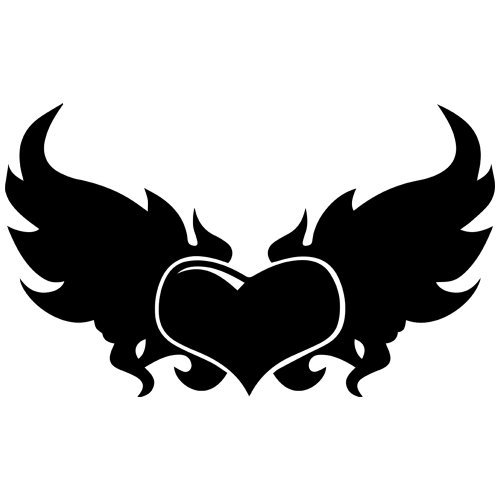 (Set of 3 - Winged Heart Decal Sticker Color: Black, Peel and Stick Vinyl Sticker )