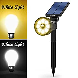 Solar Spotlight Upgraded supports Adjustable White and Warm Light with 8 LED Outdoor Security Lighting, Nightlight with Motion Sensor Detector for Patio Deck Yard , Garden Driveway and Pool Area