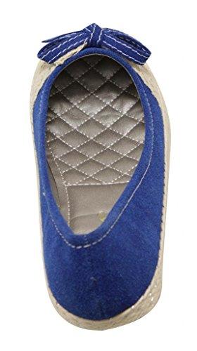 Anna Kimmy-2 Womens ballerina flat slip on rough deerskin bowknot lace weave welt ballet flats Lt Blue lGnuDzpi6x