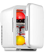 Mini Fridge Portable, 4 Liter/6 Can with AC/DC Power Cooler & Warmer Personal Fridge for Skin Care, Makeup Storage, Food,Great for Bedroom, Office, Car, Dorm