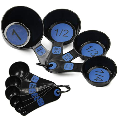 Chef Craft 42018 Easy to Read Plastic 10 Piece Blue Measuring Cup and Spoon Set