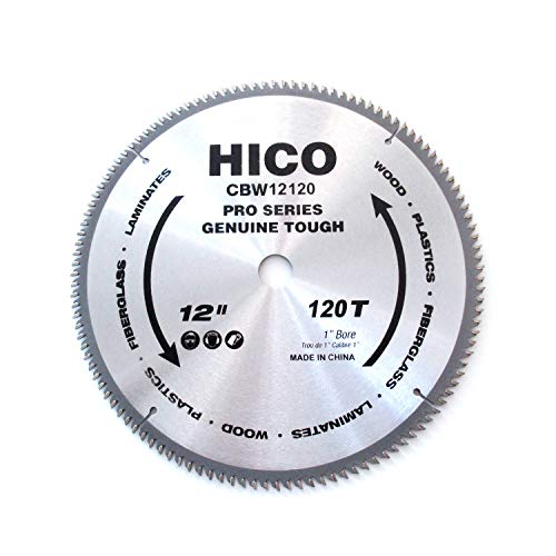 HICO 12-Inch 120-Tooth ATB Miter Saw Blade Thin Kerf General Purpose Circular Saw Blade with 1-Inch Arbor for Softwood Hardwood ()