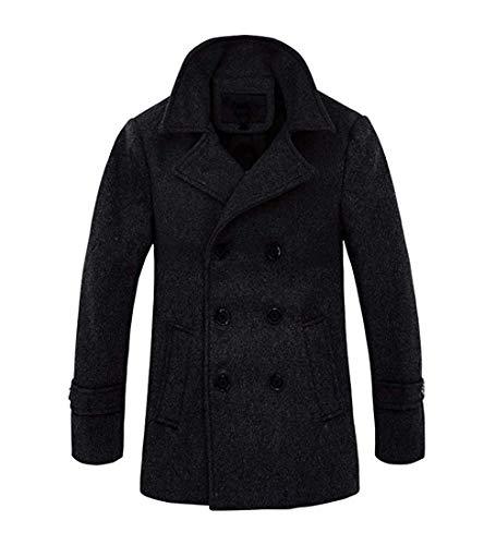 RongYue Men's Winter Pea Coat Classic Wool Double Breasted Peacoat Jacket ()