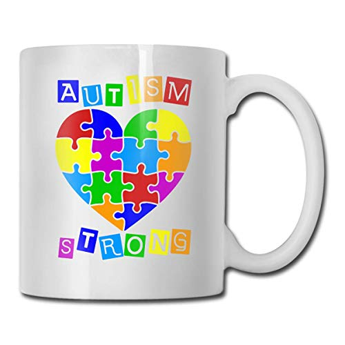 Autism Heart Puzzle Autism Awareness Coffee Mugs Ceramic Cocoa Cups with Large C-Handle Funny Coffee Mug Cool Coffee Tea Cup 11 Ounces Perfect Gift for Family and Friend ()