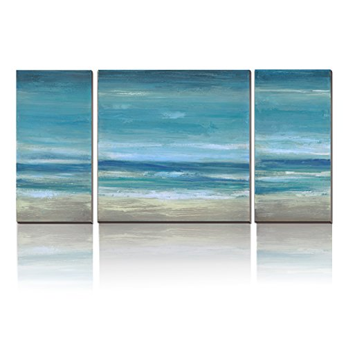 Decor Canvas Artwork - 3Hdeko Blue Seascape Ocean Canvas Prints With Embellishment Landscape Pictures Paintings Canvas Wall Art Sea Beach Pictures Artwork for Home Decor,Stretched