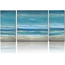 3Hdeko Blue Seascape Ocean Canvas Prints With Embellishment Landscape Pictures Paintings Canvas Wall Art Sea Beach Pictures Artwork for Home Decor,Stretched