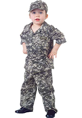 Underwraps Toddler Boy's Toddler Army Camo Set - Large, 2-4T Childrens Costume, Multi, Large