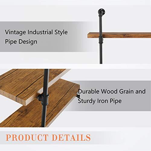 mecor Industrial Pipe Shelves with Wood 3-Tiers, Rustic Wall Mount Shelf 35.1in,Metal Hung Bracket Bookshelf,DIY Storage… 5