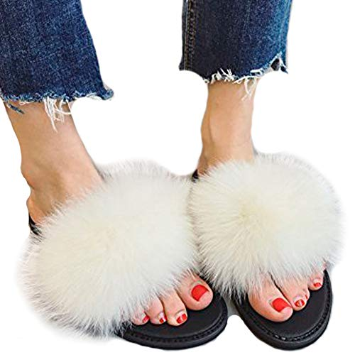 Fox Good Girl - Valpeak Fur Slippers Slides for Women Open Toe Real Fox Fur Slippers Girls Fluffy House Slides Outdoor (White, 11-12)