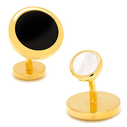 - Ox and Bull Trading Co. Double Sided Gold Onyx Round Beveled Cufflinks