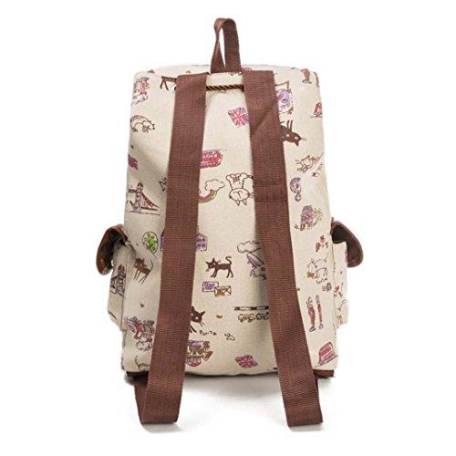 Shopping B Travel Bag Canvas Fashion Print Backpack WYXlink Backpack Cat Bag Drawstring Style Animal Women FzgfqR