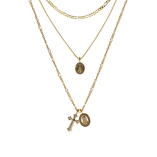 Gold Cross Pendant Necklace 14K Gold Plated Figaro Box Chain Choker Saint Medal Disc Circle Vintage Layered Necklace for Women ()