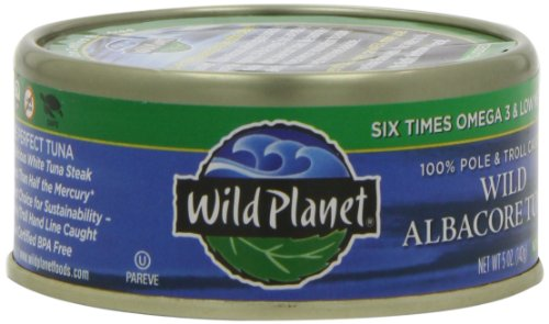Planet Tuna Wild Albacore - Wild Planet Wild Albacore Tuna, No Salt Added, 3rd Party Mercury Tested, 5 Ounce (Pack of 6)