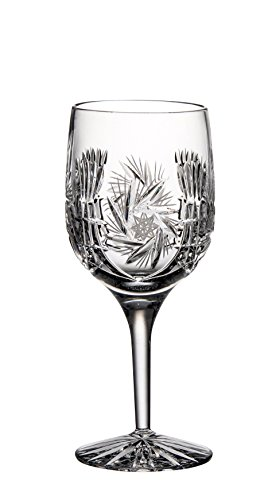 Barski - Hand Cut - Mouth Blown - Crystal - Wine Glass - Goblet - Pinwheel Design - Set of 4 - 7oz. - Made in Europe