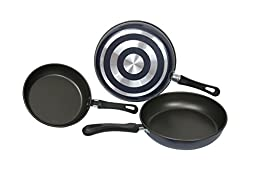 Strada Aluminum Nonstick 8-inch 9.5-inch 10-inch Frying Pans. Three Piece Set. Blue. 1 Millimeters.