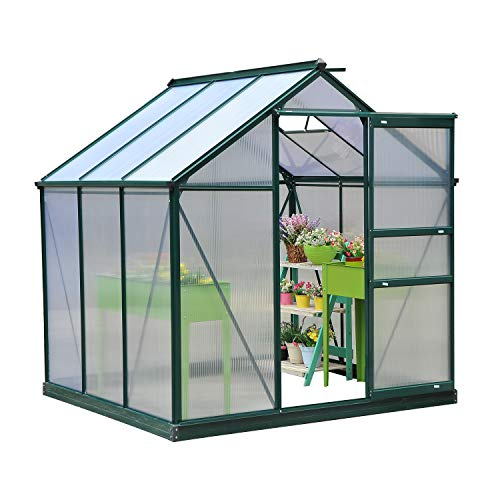 Festnight Patio Walk-in Greenhouse Portable Garden Greenhouse 6'L x 6'W x 7'H