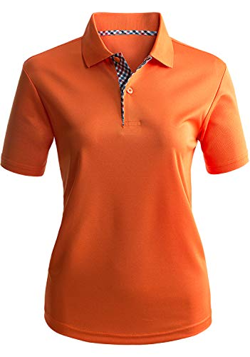 CLOVERY Women's Golf Wear Moisture Wicking Short Sleeve 2-Button Polo Shirt Orange S ()