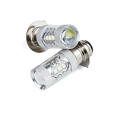 H6 LED Headlights Bulbs 2Pcs Super White Light For Yamaha ATV YFM 350 400 660 700 Raptor: Automotive