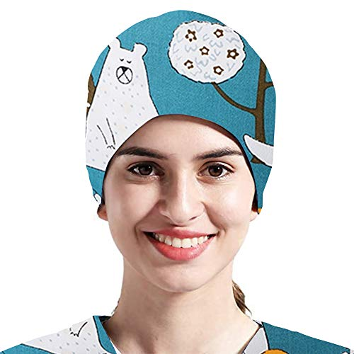 TOSFOGO Upgrade Women's and Men's Working Cap with Buttons, Cotton Sweatband Tie Back Adjustable Bouffant Hat One Size