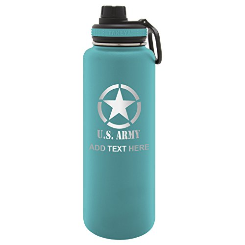 Personalized Engraved U.s. Army with Star Laser Engraving Takeya Thermoflask Leak Proof Insulated Stainless Steel Workout Sports Water Bottle Tumbler, 40 Oz Ocean Blue For Sale