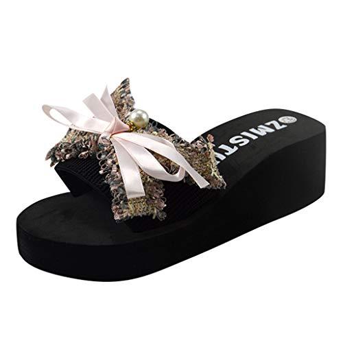 Londony Women Bow Flip-Flops Sandals Beach Flat Rain Jelly Shoes Bohemia Floral Print Sandals Slippers ()