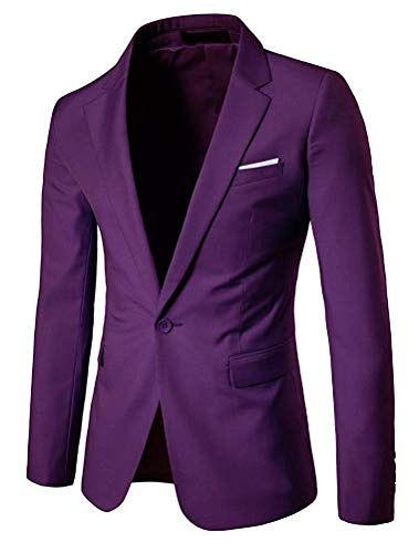 Taille Violet Violet coloré Bussiness Unie Homme Qiusa Fit Unicolore Blazer Couleur Slim Medium W8Cq0x7wvz