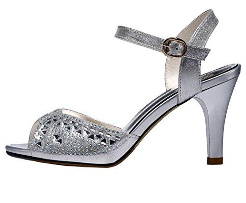 Guciheaven Women New Style Beautiful Cute Platform Peep-toe Heeled Sandals Shoes(5 B(M)US, Silver)