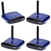 TOOGOO(R) 5.8GHZ 8 Channel 200m Wireless Audio Video AV SD TV Sender 1 Transmitter & 3 Receiver with IR Remote Signal Wire