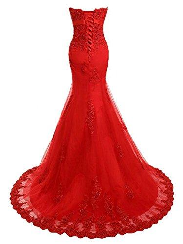 JAEDEN Mujer Sin tirantes Encaje Vestidos de baile Largo Vestido de fiesta Compromiso vestido Rojo
