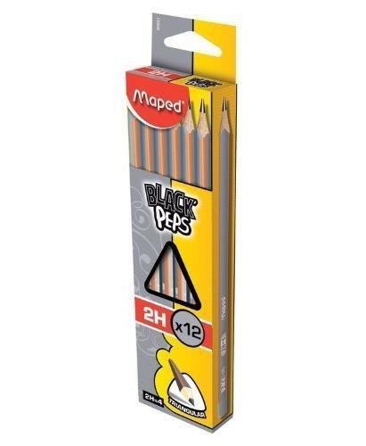 Maped Black 'Peps 2H (s)–crayon (2H, Gris, Orange, 12pièce (s)) 3154148500230