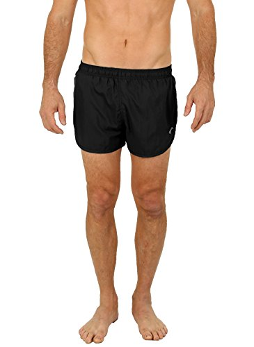 UZZI Men's Basic Running Shorts Swimwear Trunks Black (Microfiber Mens Running Short)
