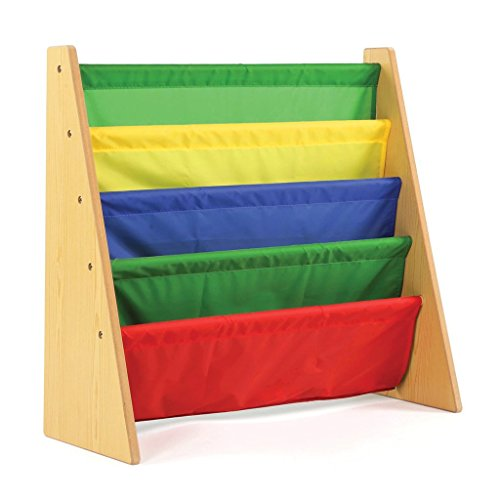 Leadzm Bookcase ,5 Ladder Bookshelf, Canvas Bookrack, Kids Book Display Holder, Portable Storage Cabinet,Corner Stand Utility Furniture Store,Colorful