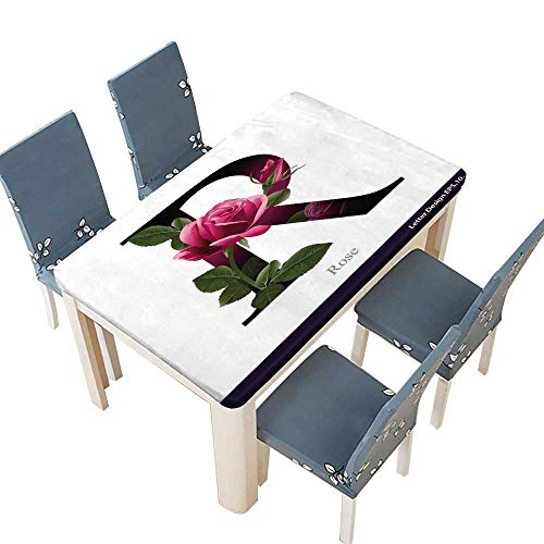 PINAFORE Polyester Tablecloths Letter R Alphabet with Rose Flower Typography Design for Indoor and Outdoor Use W49 x L88.5 INCH (Elastic Edge)