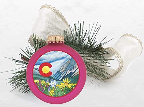 Colorado Wildflower Christmas Tree Ornament Bubblegum Velvet with - Velvet Bubble Gum