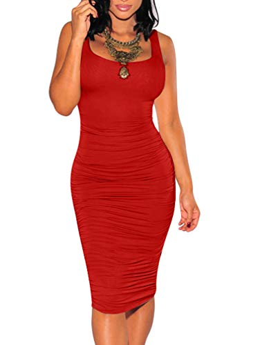 BEAGIMEG Women's Sexy Ruched Bodycon Casual Solid Sleeveless Tank Midi Dress Red ()
