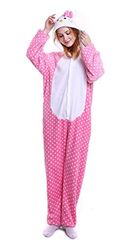 Halloween Costumes For Teenage Girls Cat (SILKSART Uinisex Adult Pajamas Onesie Kigurumi Cosplay Costumes Animal Jumpsuit Pink Cat-XL)