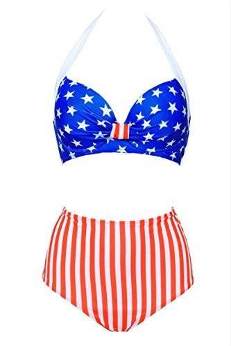 GSHappyGo Retro Vintage Print Halter High Waist Bikini Set Swimsuit Swimwear USA Flag US 12-14