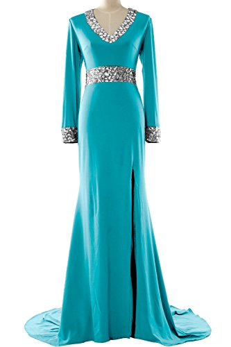 Neck Mother MACloth the Formal Bride Turquoise of Dress Sleeve Gown Evening V Women Long rXqwAXzt