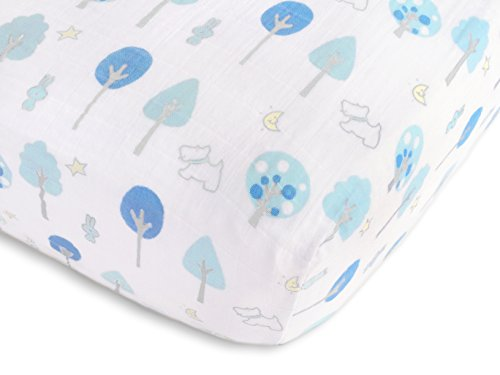 SwaddleDesigns Cotton Muslin Crib Sheet, Blue Forest