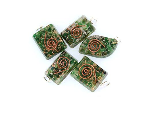 Desing Orgone Green Pendant with Bronze