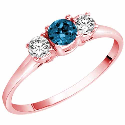 14K Rose Gold Round 3 Stone Blue Diamond & White Diamond Ring (1/2 cttw) – Size 8