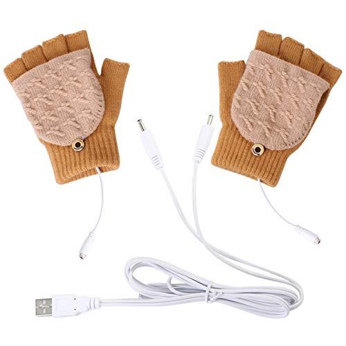 Petyoung – USB-verwarmde handschoenen voor dames en heren, voor de winter, met volledige vingers en halve vingers, om…