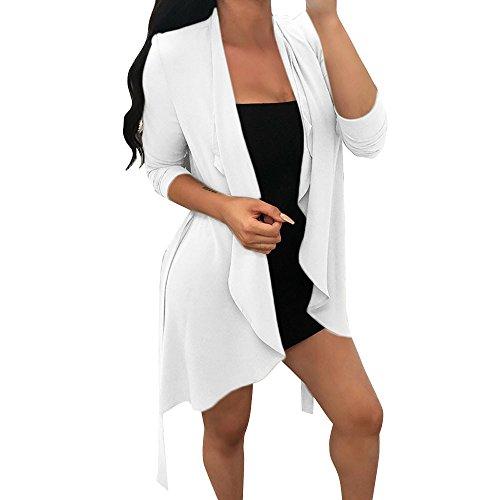 Asymtrique Cardigan Automne Femmes Manches Longues en Mousseline De Soie Veste Irrgulire Col Manteau Tops avec Ceinture GreatestPAK Blanc