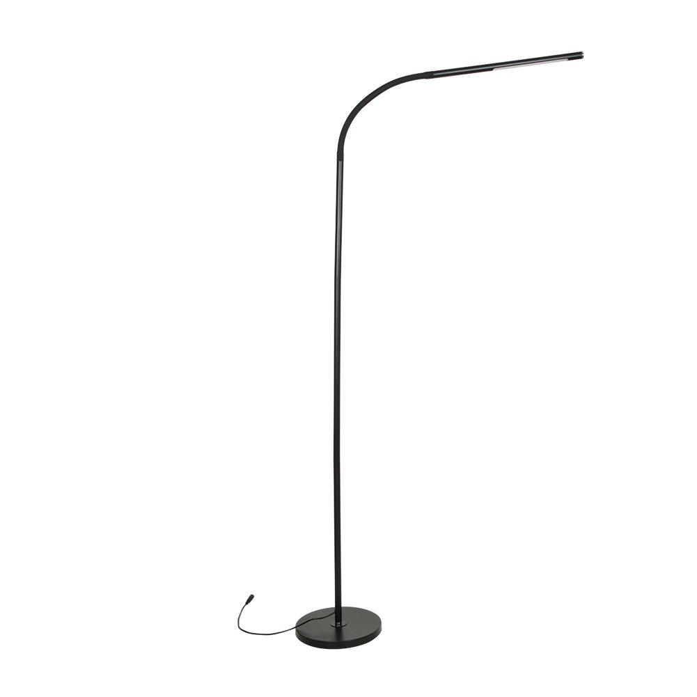 LED Floor Lights-Gooseneck Floor Reading Lamps,4 Color Changing & 5 Brightness Dimmer, Touch Control- Adjustable Design Pivots in Any Direction for Living Room Sewing Bedroom Office Task, Black