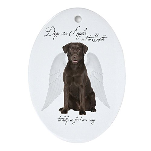 (CafePress Chocolate Lab Angel Oval Holiday Christmas Ornament)