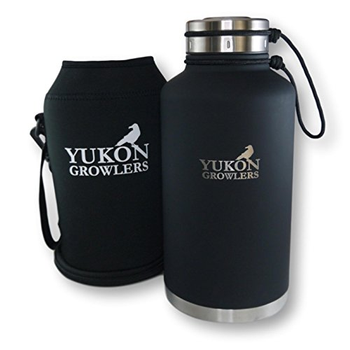 Yukon Growlers Insulated Beer Growler - Keep Your Beer Cold and Carbonated for 24 Hours - Stainless Steel Vacuum Water Bottle with Carrying Case Also Keeps Coffee Hot - Improved Lid - 64 oz ()